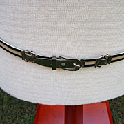 Authentic Vintage 70's  Gucci Metal Link Belt Brown Cream Enameled Silver tone Estate Adjustable