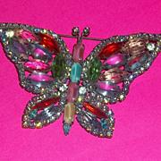 Vintage Kenneth Lane Rhinestone Butterfly Pin Brooch Estate Large Beautiful