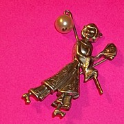 Vintage Signed Lang Sterling Pin Brooch Geisha Girl Oriental with Faux Pearl