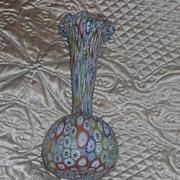 Large Vintage Antique Murano  Italian Art Glass MILLEFIORI Vase Estate Beautiful
