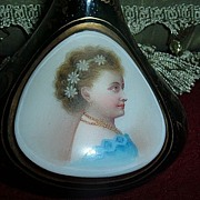 Antique Moser Bohemian Glass Emerald Green Portrait Vase Cameo Face Handpainted  Beautiful Rare