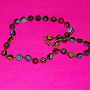 Vintage Mid Century Modern Era Murano Glass Necklace Bright Bold Colors Estate