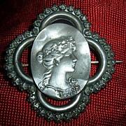 Antique Art Nouveau 800 Silver Brooch Pin Woman Detailed Large Beautiful