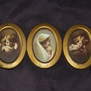 TRUE ANTIQUE Print 1897 Parkinson Cupid Mother Child Trio RARE Mother's Day