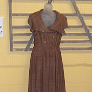 True Vintage Paris Designer Couture Jacques Fath Fall Brown Silk Dress Early 50s