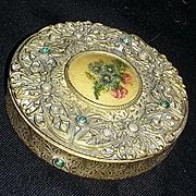 True vintage art nouveau petit point rhinestone Czech compact estate vanity scarce