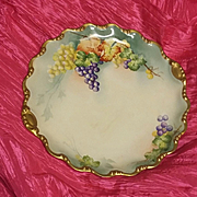 Antique Hand painted Limoges Charger Plate Grapes Estate GORGEOUS COLOR