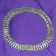 Antique Victorian Steampunk Rare Silver Bracelet Bracelets Necklace Set Demi Engraved Signed Marked estate