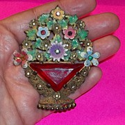 Outstanding  Rare Large Czech Brooch Pin Flowers Rhinestones Enameled Estate