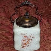 Gorgeous Antique Wavecrest Wave Crest Biscuit Cookie Jar Large Size Ornate Art Glass Victorian