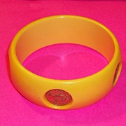 Vintage Wide Cuff Bakelite Bracelet Yellow Inlaid British Elizabeth Regina Estate