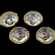 Set Four 18th c Battersea Bilston Enamel Gaming Gambling Trays – c 1780