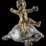 Bronze Girl Riding Turtle, Dore Bronze – Christofle – C 1890