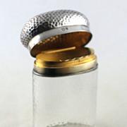 Silver Double Topped Glass Bottle/Dresser Jar -  London 1916-17