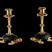 Pair Tortoise Turtle Figural Candlesticks – Dore Bronze & Leather – c 1880