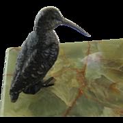 Antique Vienna Bronze Bird Snipe on Onyx Tray