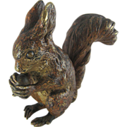 Antique Cold Painted Vienna Bronze Red Squirrel - c 1900