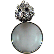 Vintage Yorkshire Terrier Dog Figural Magnifying Glass – Loupe Sterling Silver
