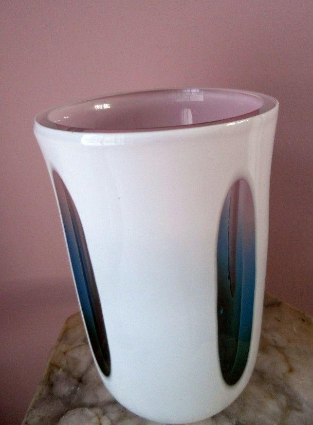Vintage Czechoslovakian Perhaps Pink & Blue Case Art Glass Vase