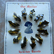Antique Store Stock Bakelite Child Butterfly Barrettes Display Card