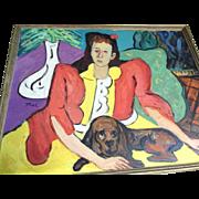 Modern Art Picasso Style Sam Thal  Woman & Basset Hound