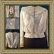 Victorian Women's Floral Whitework Bridal Lace Blouse