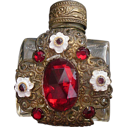 Lovely Antique Red Jeweled Purse Vanity Perfume Bottle