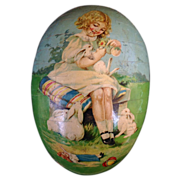 Antique German Victorian Paper Mâché Child Doll Rabbits Easter Egg Candy Container