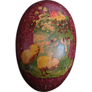 Antique Victorian German Paper Mâché Baby Chicks Easter Egg Candy Container