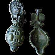Intricate 19C Art and Crafts Ornate Bronze Seashell Metal Drawer Pulls Hardware Lot