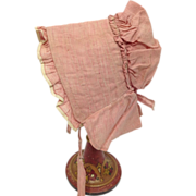 Antique Shaker Doll Poke Bonnet 19C Pink Hand Sewn Cotton