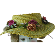 Antique French German Doll Yellow Floral Straw Hat