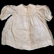 Antique Child or Cloth Papier Mache China Bisque Doll Victorian 19C Waffle Fabric Cotton Dress