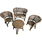 Vintage Painted Wicker Doll Furniture 4 Pc Large Set American Girl Doll Size Settee Chairs Table Furniture 1930's-40s