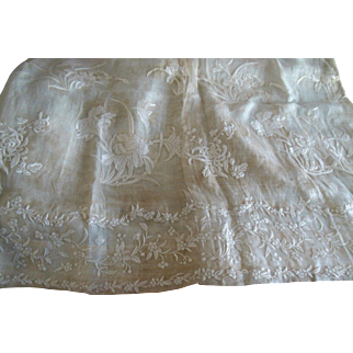 Antique Ayrshire Whitework Skirt Linen Fabric Yardage Edwardian
