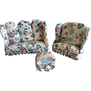 Vintage Upholstered Dollhouse Couch Chair Ottoman Furniture 3Pc Set Mint