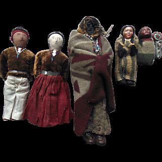 Skookum American Indian Doll Apple Head Cloth Beaded Papoose Old Vintage Doll Lot