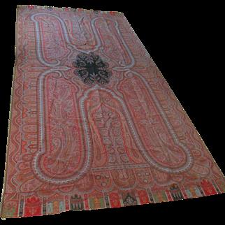 Antique Kashmir Paisley Wool Textile Rug Runner Throw Shawl 11' x 5'+  Kindlund Label