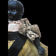 Antique Black Americana German Bisque Doll in Original Clothes for a bit of repair