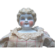 """Antique ABG China Head 22"""" Doll Original Dress Red Cheeks for parts or repair An Exceptional Antique Doll !"""