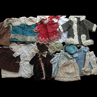 Antique 19Pc French German Doll Dress Coat Hat Bonnet Lace Velvet Wardrobe