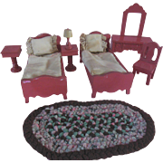 Vintage Schoenhut Dollhouse Pink Bedroom Furniture Set with Fancy Bedding Braided Rug Lamps etc