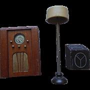 Vintage Schoenhut Kage Dollhouse Radios & Floor Lamp