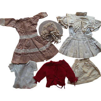 Antique French German Doll Calico Dress Wardrobe with Straw Hat & Red Knit Sweater