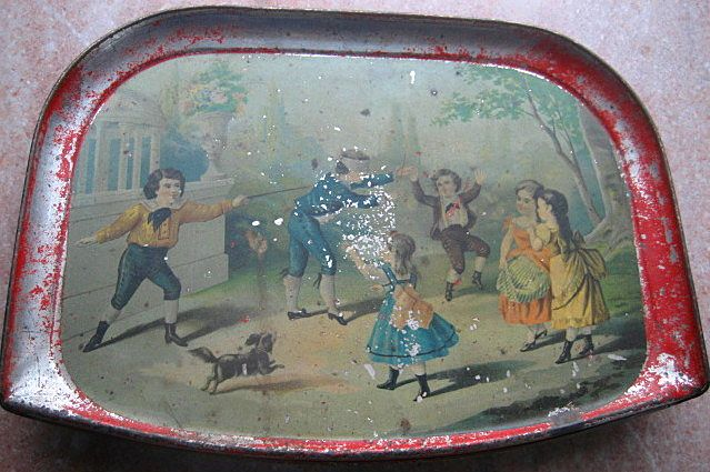 Antique Watermans Tin Litho Doll Child High Chair Tray