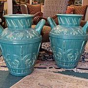 Pair of Large, Monumental Gladding McBean urns