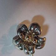 Sterling Silver Flower Designer Stick Pin