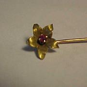 10K Yellow Gold Flower Vintage Stickpin