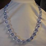 "Necklace Sparkle Blue Ice Blue Crystal Glass Bead 20"""
