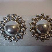 """Large Big Sterling Pierced Stud Earrings 1 1/4 """" across"""